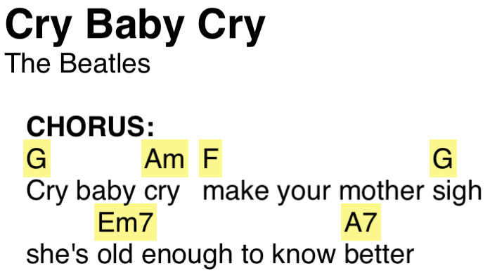 A picture of a ChordPro formatted lyric